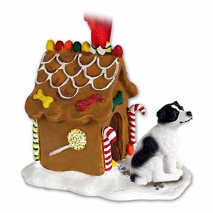Jack Russell Terrier Gingerbread House Christmas Ornament Black-White Smooth Coat