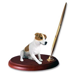 Jack Russell Terrier Pen Holder (Brown & White Smooth)