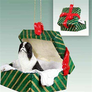 Japanese Chin Gift Box Christmas Ornament Black-White