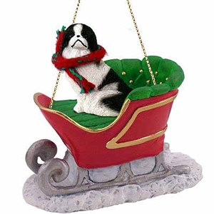 Japanese Chin Sleigh Ride Christmas Ornament Black-White