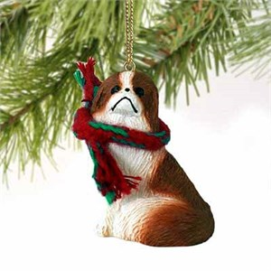 Japanese Chin Tiny One Christmas Ornament Red-White
