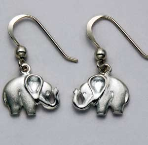 Elephant Earrings Dangling Sterling Silver