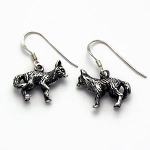 Wolf Earrings Sterling Silver