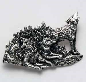 Three Wolves Pin