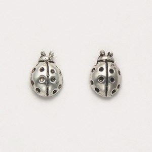 Ladybug Earrings Sterling Silver