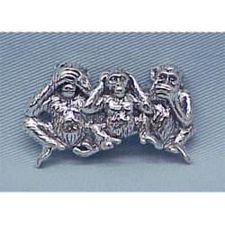 Speak, See, Hear No Evil Chimpanzee Pin