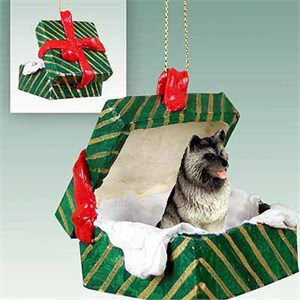 Keeshond Gift Box Christmas Ornament