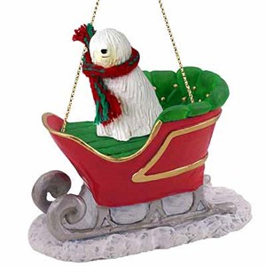 Komondor Sleigh Ride Christmas Ornament