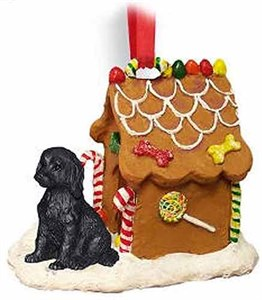 Labradoodle Gingerbread House Christmas Ornament Black