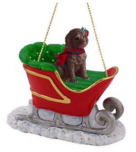 Labradoodle Sleigh Ride Christmas Ornament Chocolate