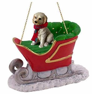 Labradoodle Sleigh Ride Christmas Ornament Cream-Blonde