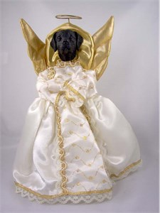 Black Lab Angel Christmas Tree Topper