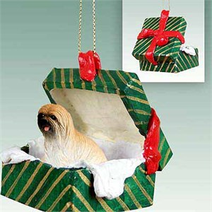 Lhasa Apso Gift Box Christmas Ornament Brown