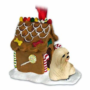 Lhasa Apso Gingerbread House Christmas Ornament Blonde