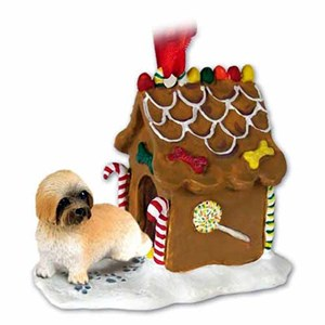 Lhasa Apso Gingerbread House Christmas Ornament Brown Sport Cut