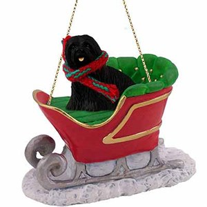 Lhasa Apso Sleigh Ride Christmas Ornament Black
