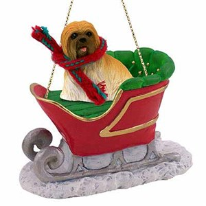 Lhasa Apso Sleigh Ride Christmas Ornament Brown