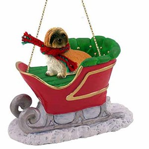 Lhasa Apso Sleigh Ride Christmas Ornament Brown Sport Cut