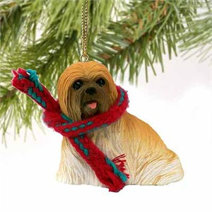 Lhasa Apso Tiny One Christmas Ornament Brown