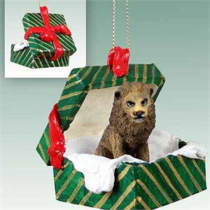 Lion Gift Box Christmas Ornament