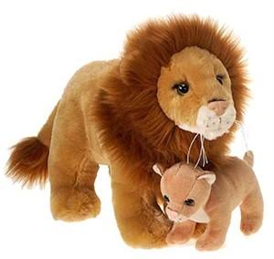 "Lion With Baby Plush Stuffed Animal 12"""
