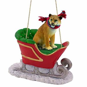 Lioness Sleigh Ride Christmas Ornament