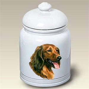 Long Hair Dachshund Treat Jar