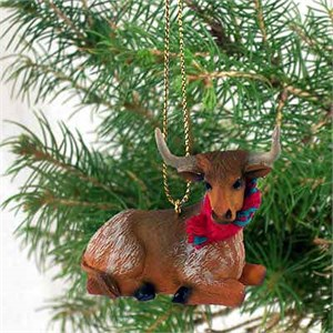 Long Horn Steer Tiny One Christmas Ornament