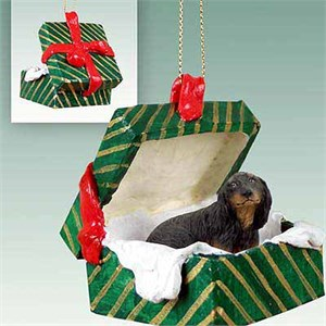 Longhaired Dachshund Gift Box Christmas Ornament Black