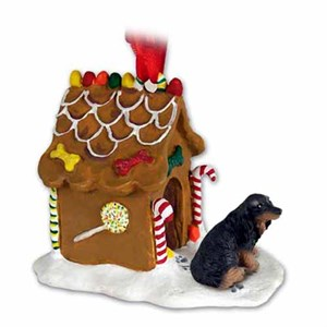 Longhaired Dachshund Gingerbread House Christmas Ornament Black