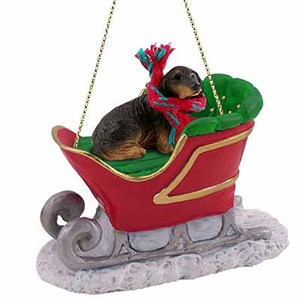 Longhaired Dachshund Sleigh Ride Christmas Ornament Black
