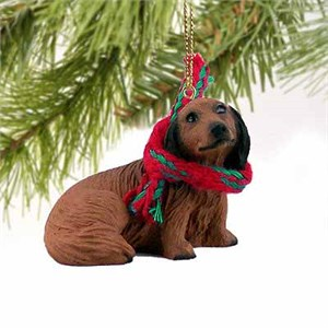 Longhaired Dachshund Tiny One Christmas Ornament Red