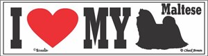 Maltese Bumper Sticker I Love My