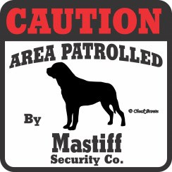 Mastiff Bumper Sticker Caution