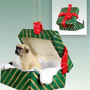 Mastiff Gift Box Christmas Ornament