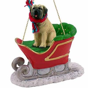 Mastiff Sleigh Ride Christmas Ornament