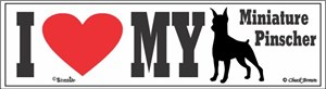 Miniature Pinscher Bumper Sticker I Love My