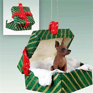 Miniature Pinscher Gift Box Christmas Ornament Red-Brown