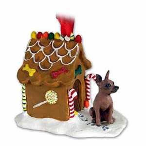 Miniature Pinscher Gingerbread House Christmas Ornament Red-Brown