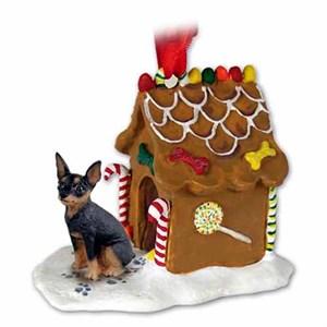 Miniature Pinscher Gingerbread House Christmas Ornament Tan-Black