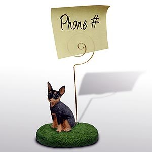 Miniature Pinscher Note Holder (Tan & Black)