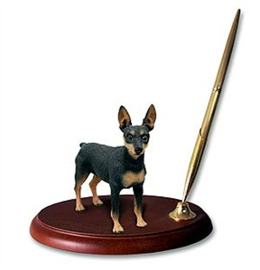 Miniature Pinscher Pen Holder (Tan & Black)
