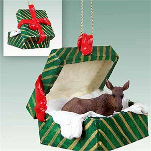 Moose Gift Box Christmas Ornament Cow