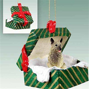 Norwegian Elkhound Gift Box Christmas Ornament