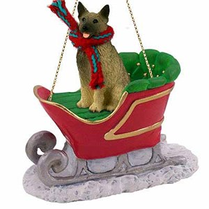 Norwegian Elkhound Sleigh Ride Christmas Ornament