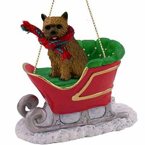 Norwich Terrier Sleigh Ride Christmas Ornament