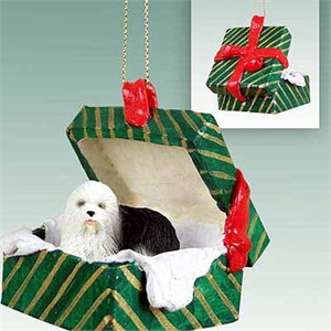 Old English Sheepdog Gift Box Christmas Ornament