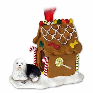 Old English Sheepdog Gingerbread House Christmas Ornament
