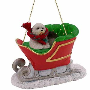 Old English Sheepdog Sleigh Ride Christmas Ornament