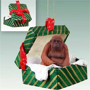 Orangutan Gift Box Christmas Ornament